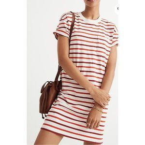 Madewell Pocket Tee Dress Pablo Red White Stripe